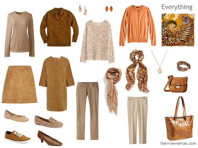 How to build a capsule wardrobe in a brown and orange colour palette