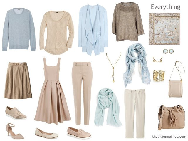 How to build a capsule wardrobe in a beige and blue colour palette