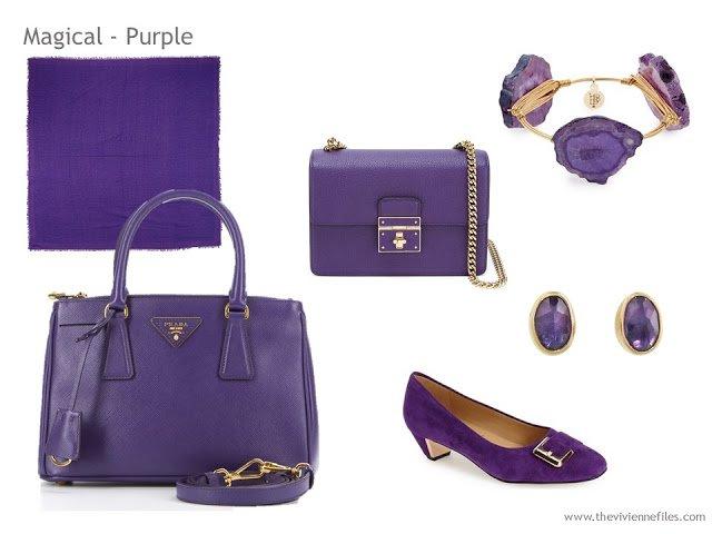 Adding Accessories to a Capsule Wardrobe in 13 color families -  purple