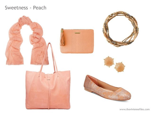 Adding Accessories to a Capsule Wardrobe in 13 color families - peach