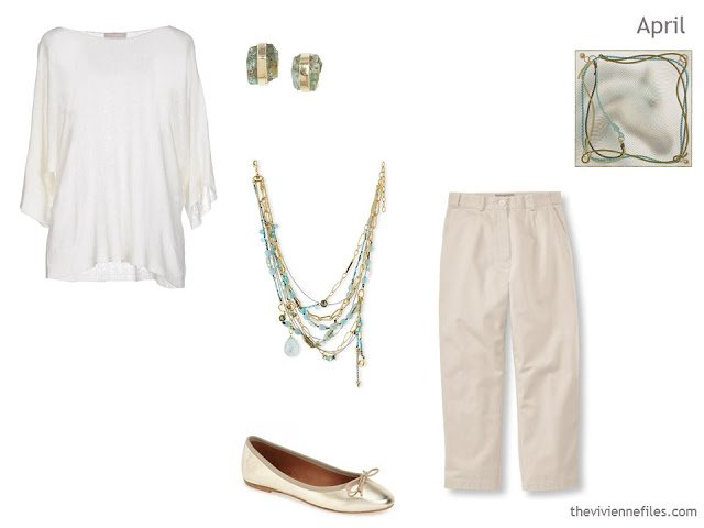 One new outfit in a capsule wardrobe inspired by a Hermes scarf