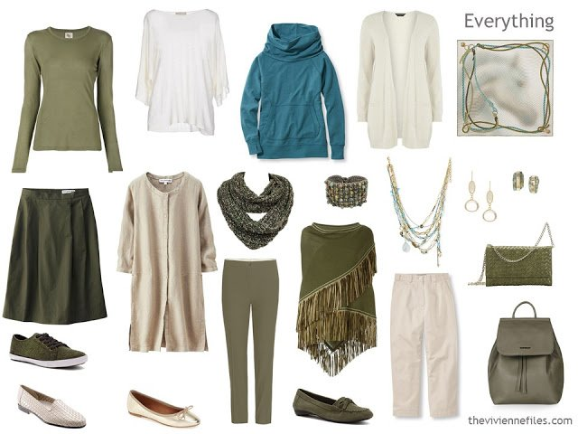 How to build a capsule wardrobe in a green, ivory, and teal colour palette