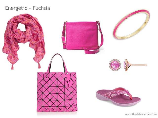 Adding Accessories to a Capsule Wardrobe in 13 color families -  fuchsia