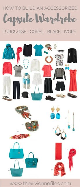 How to Build a Capsule Wardrobe of Accessories: Turquoise, Coral, Black and Ivory 1 at a Time