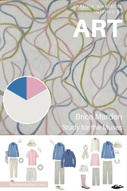 A travel capsule wardrobe in a white, pink, and blue color palette based on Study for the Muses by Brice Marden