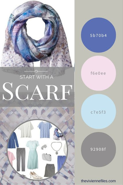 A travel capsule wardrobe color palette based on a Ted Baker scarf in grey, pink, blue, mauve, and mint green