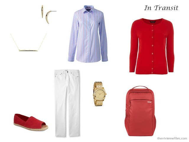A Travel Capsule Wardrobe: Red, White and Blue for Uncertain Weather