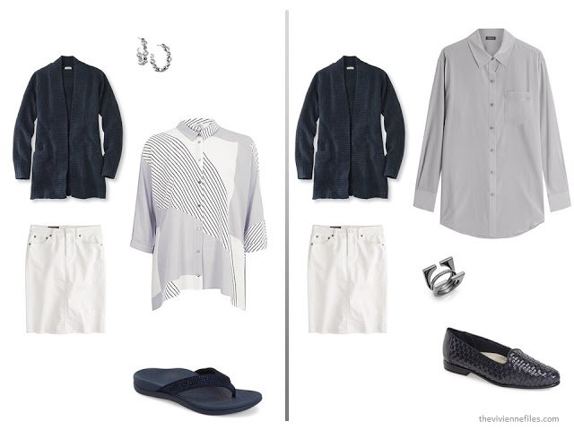 A basic navy cardigan and white skirt  with grey
