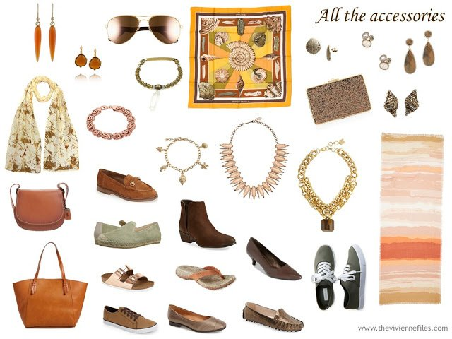 Accessories in A capsule wardobe in a warm color palette inspired by a Hermes scarf