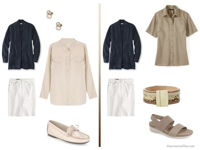 A basic navy cardigan and white skirt  with beige