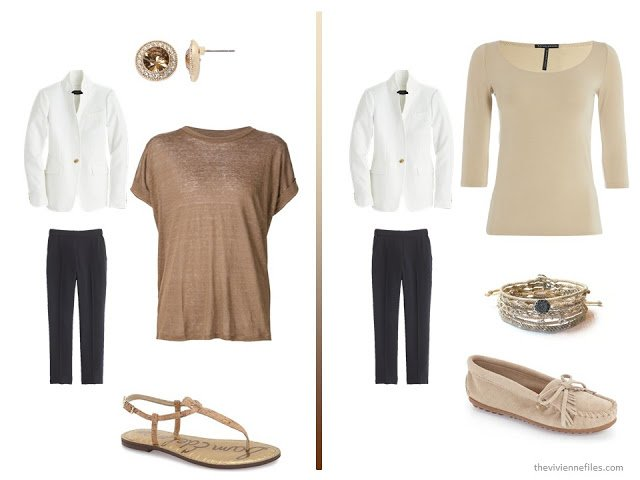 20 ways to wear a white blazer with navy pants in a capsule wardrobe - with brown