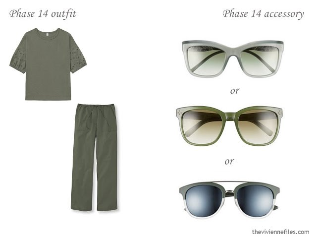 How to Add Accessories to a Capsule Wardrobe: Olive, White, Tomato and Mustard - sun glasses