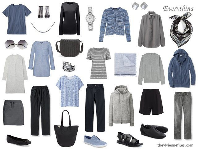 16-piece travel capsule wardrobe in blue, grey and black