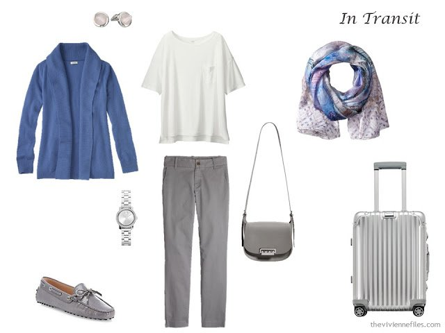 A travel outfit in soft blue, grey and ivory