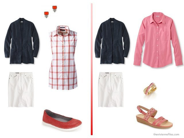 A basic navy cardigan and white skirt  with red, pink, or coral