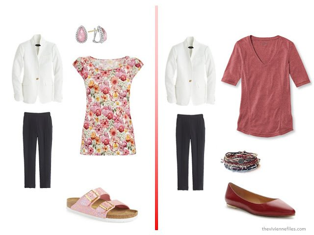 20 ways to wear a white blazer with navy pants in a capsule wardrobe - with red and pink