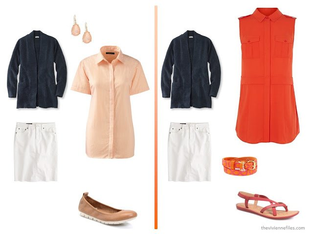 A basic navy cardigan and white skirt  with orange