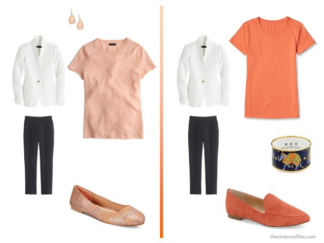 20 ways to wear a white blazer with navy pants in a capsule wardrobe - with orange