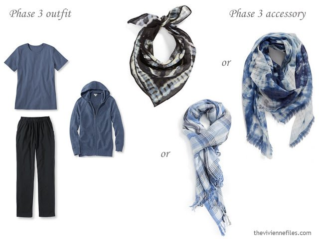 How to add accessories to a capsule wardrobe in black, blue, and grey
