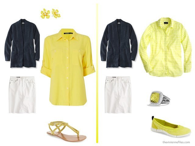 A basic navy cardigan and white skirt  with yellow