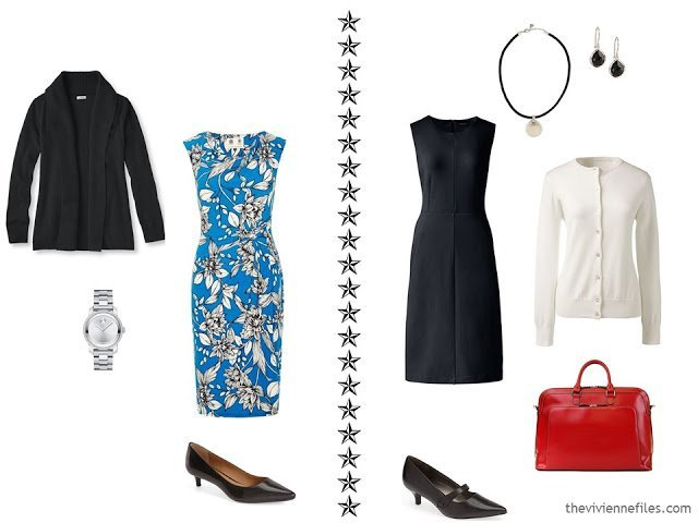 2 outfits in a travel wardrobe for business with dresses