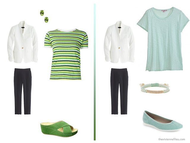 20 ways to wear a white blazer with navy pants in a capsule wardrobe - with green