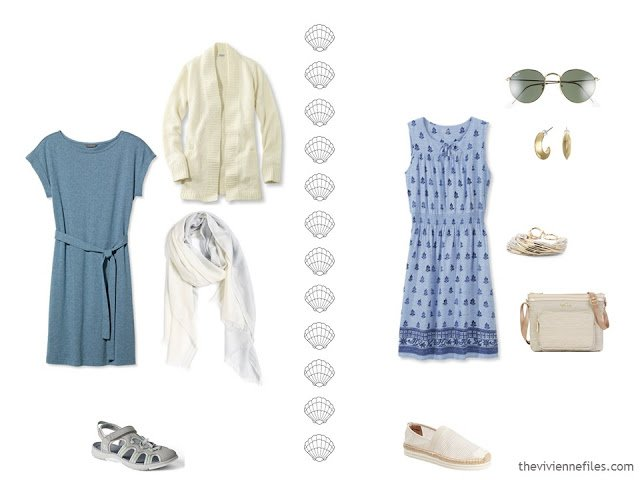 2 summer outfits without shorts, and with closed-toe shoes.