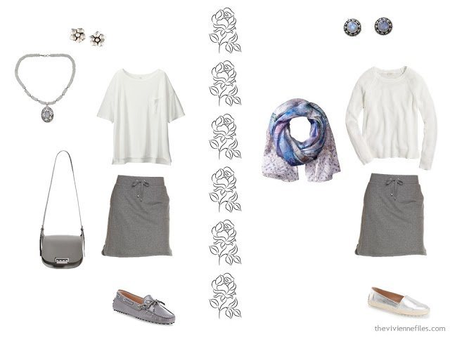 Two outfits taken from a pastel travel capsule wardrobe
