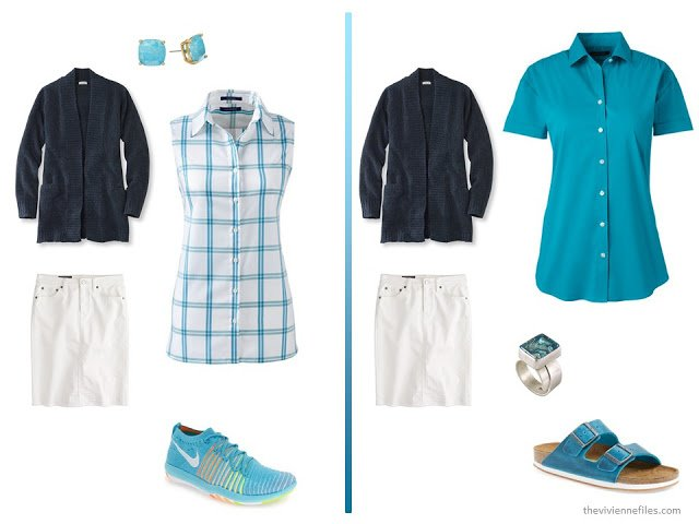 A basic navy cardigan and white skirt  with turquoise