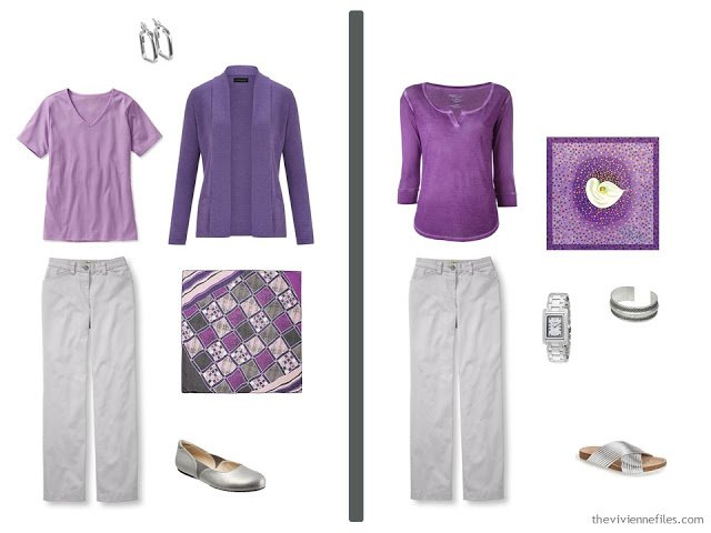 Two outfits in A travel capsule wardrobe in grey and purple based on Composition by Natalia S. Gontcharova