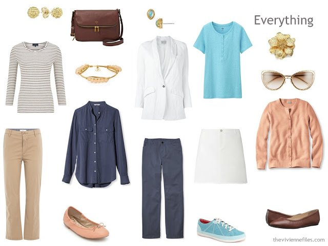 A summer travel capsule wardrobe with a color palette based on art