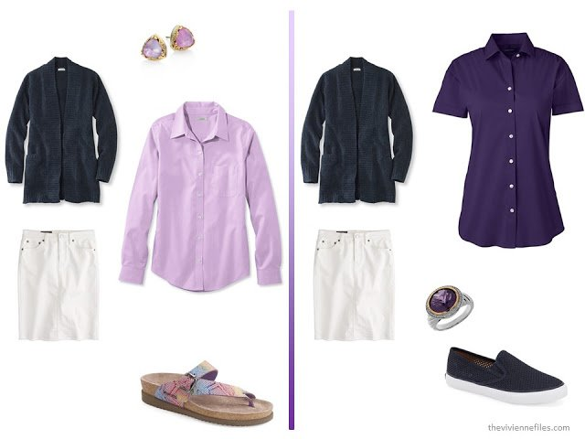 A basic navy cardigan and white skirt  with purple