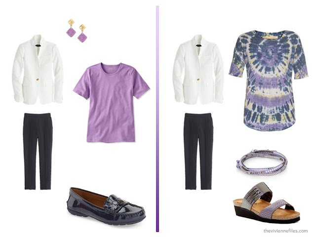 20 ways to wear a white blazer with navy pants in a capsule wardrobe - with purple
