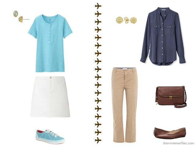2 outfits from a summer travel capsule wardrobe