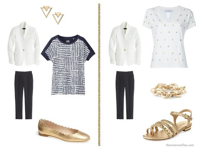 20 ways to wear a white blazer with navy pants in a capsule wardrobe - with gold