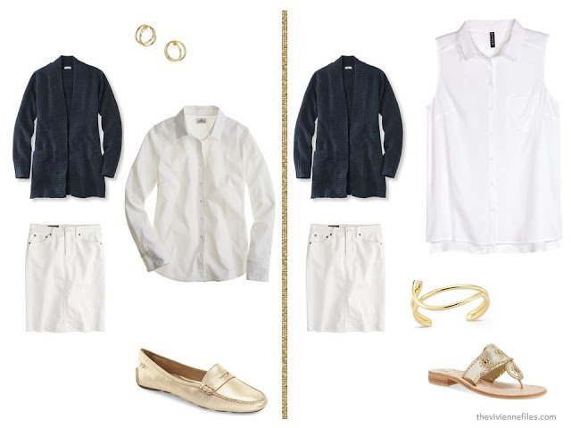 A basic navy cardigan and white skirt  with white tops