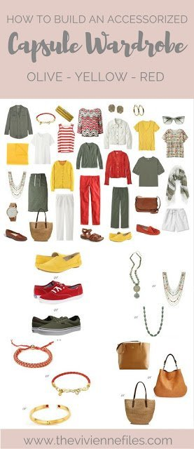 How to Add Accessories to a Capsule Wardrobe: Olive, White, Tomato and Mustard - for summer travel
