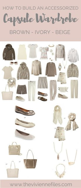 How to add accessories to a capsule wardrobe in a Beige color palette