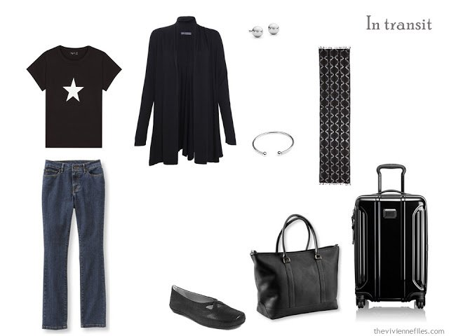 A travel wardrobe in black for a long weekend trip