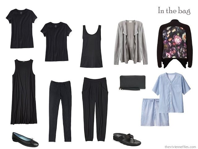 A Travel capsule wardrobe in black for a long weekend trip