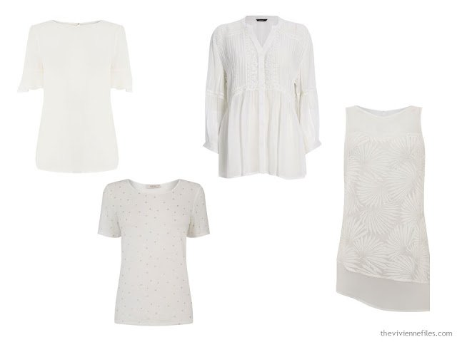 "4 white tops - alternatives to the ""crisp white button-front shirt"""