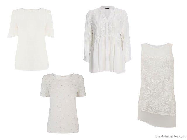 "4 white tops - alternatives to the ""crisp white button-front shirt"""