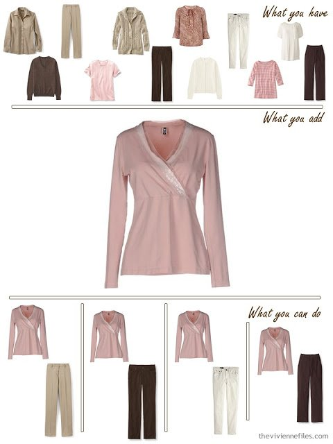 add a pink top to a pink, brown and khaki wardrobe