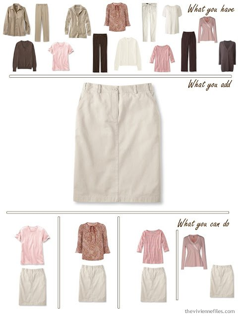 add a stone skirt to a brown, khaki and pink wardrobe