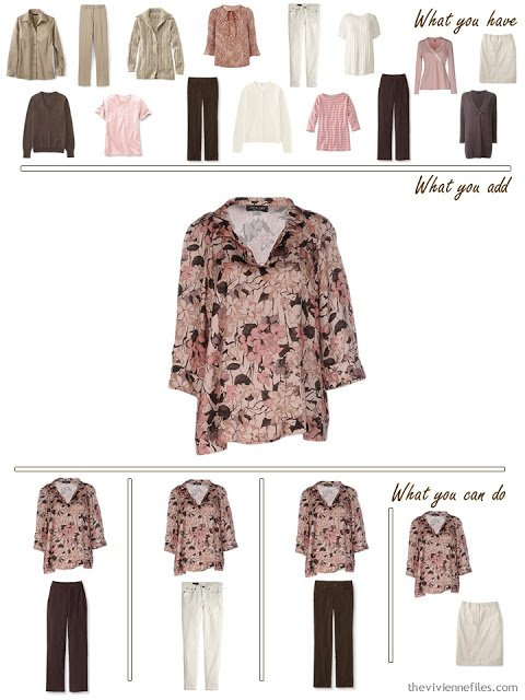add a pink and brown floral blouse to a brown, khaki and pink wardrobe