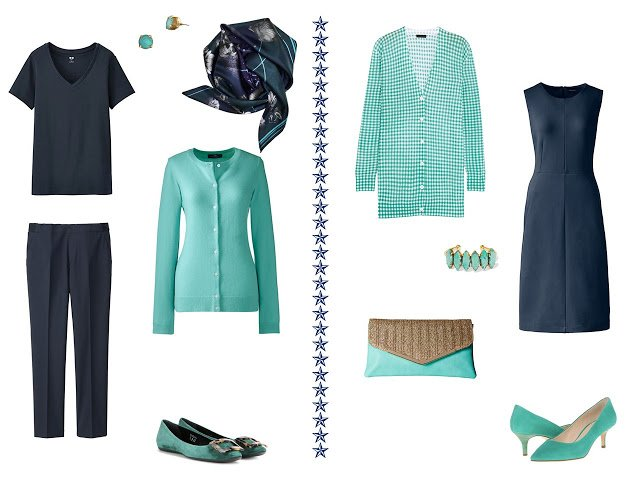 Navy Columns with Shades of Green in the Capsule Wardrobe
