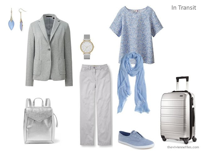 A travel capsule wardrobe in grey and blue