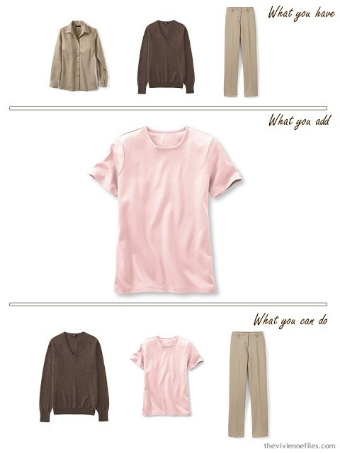 add a pink tee shirt to a brown and beige outfit