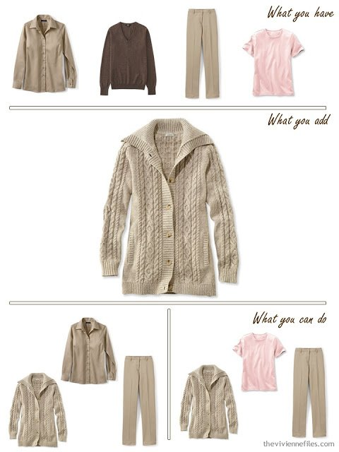 add a khaki cardigan to a brown, khaki and pink wardrobe