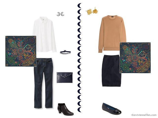 Two outfits in a capsule wardrobe inspired by Tarantula Nebula by Gendler and Colombari